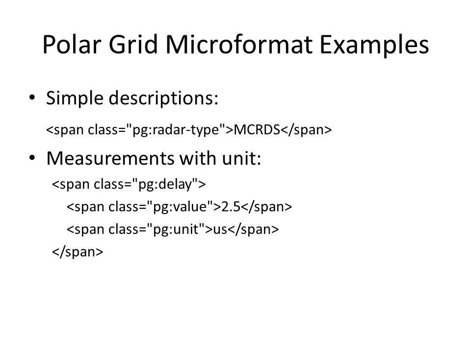 Polar Grid Microformat Examples Simple descriptions: MCRDS Measurements with unit: 2.5 us