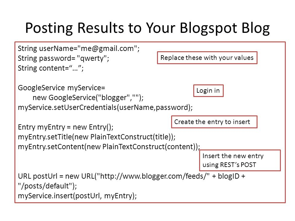 Posting Results to Your Blogspot Blog String userName=