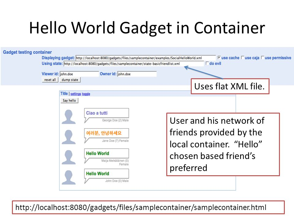 http://localhost:8080/gadgets/files/samplecontainer/samplecontainer.html Hello World Gadget in Container User and his network of friends provided by t