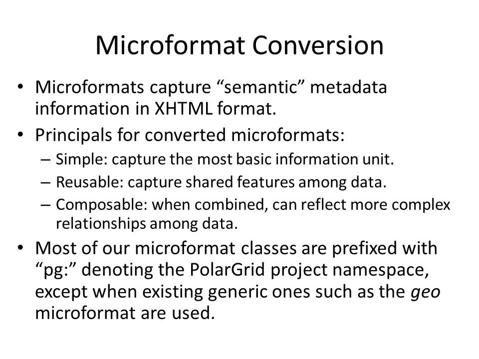 Microformat Conversion Microformats capture semantic metadata information in XHTML format.