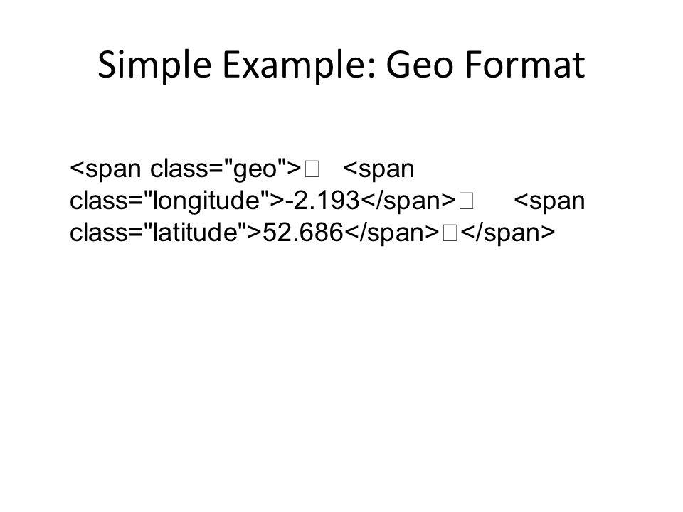 Simple Example: Geo Format -2.193 52.686