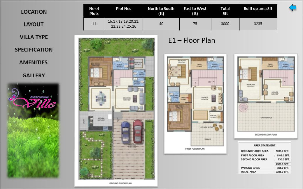 E1 – Floor Plan No of Plots Plot NosNorth to South (ft) East to West (ft) Total Sft Built up area Sft 11 16,17,18,19,20,21, 22,23,24,25,26 407530003235