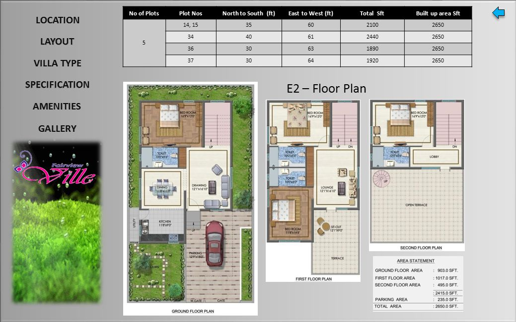 E2 – Floor Plan No of PlotsPlot NosNorth to South (ft)East to West (ft)Total SftBuilt up area Sft 5 14, 15356021002650 34406124402650 36306318902650 37306419202650