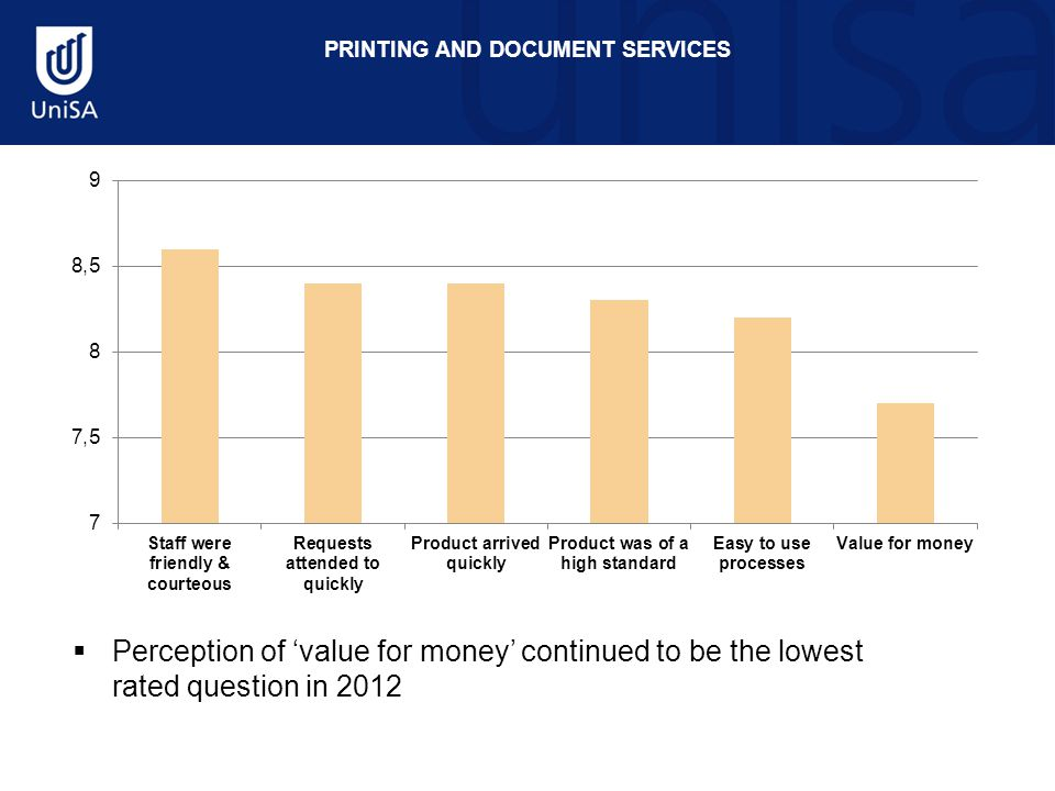 PRINTING AND DOCUMENT SERVICES  Perception of 'value for money' continued to be the lowest rated question in 2012