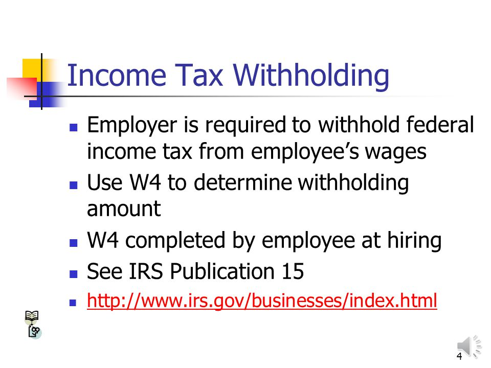 3 Federal Taxes Income tax – estimated and paid quarterly Self-employment taxes – estimated and paid quarterly (FICA & Medicare) Federal employment ta