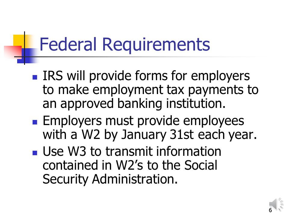 5 Federal Insurance Contributions Act (FICA) Includes Social Security and Medicare taxes Tax is paid by both employer and employee 6.2% for Social Sec