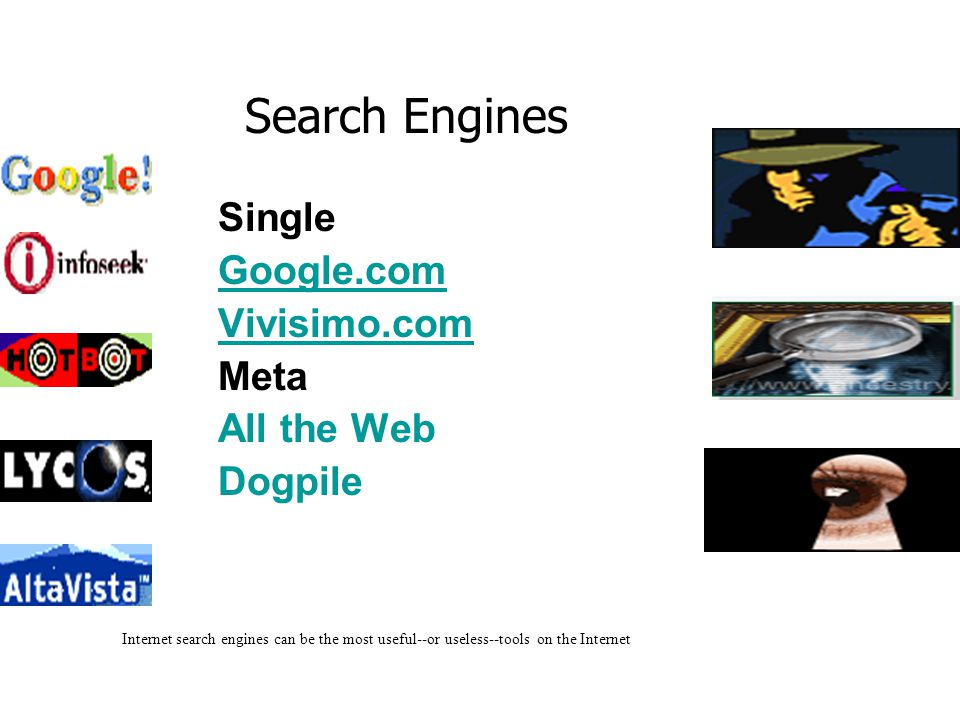 Single Google.com Vivisimo.com Meta All the Web Dogpile Internet search engines can be the most useful--or useless--tools on the Internet Search Engines