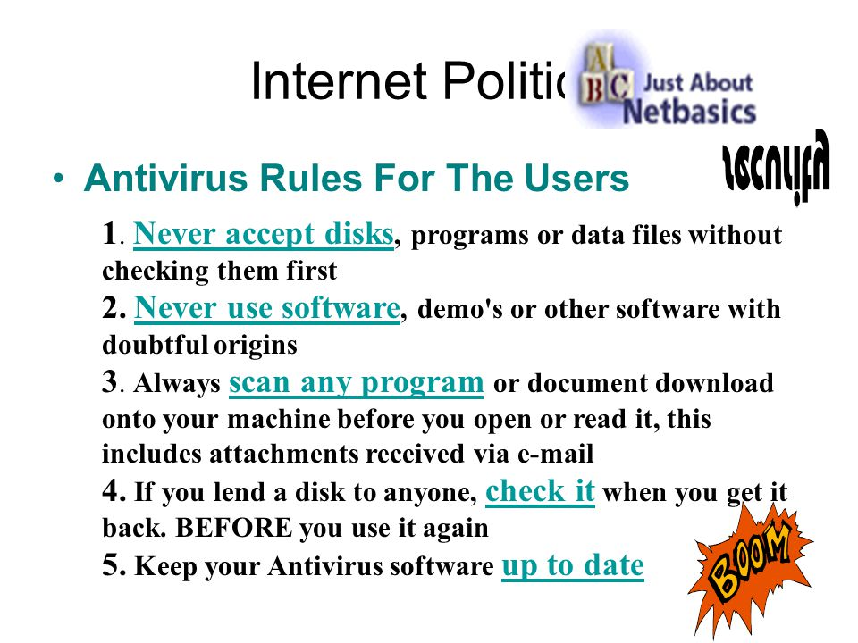 Internet Politics Antivirus Rules For The Users 1.