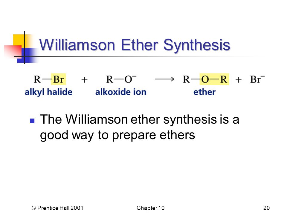 © Prentice Hall 2001Chapter 1020 Williamson Ether Synthesis The Williamson ether synthesis is a good way to prepare ethers