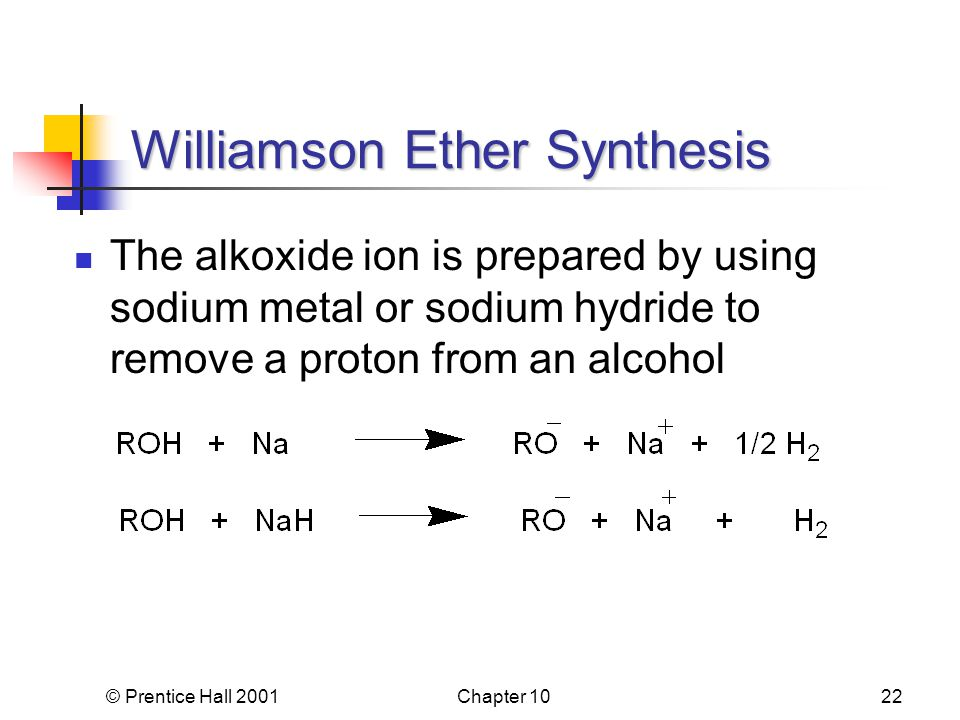 © Prentice Hall 2001Chapter 1022 Williamson Ether Synthesis The alkoxide ion is prepared by using sodium metal or sodium hydride to remove a proton from an alcohol