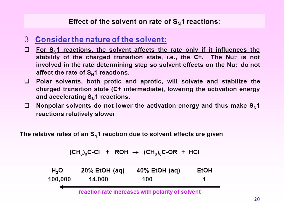 21  Solvent polarity is usually expressed by the dielectric constant , , which is a measure of the ability of a solvent to act as an electric insulator.