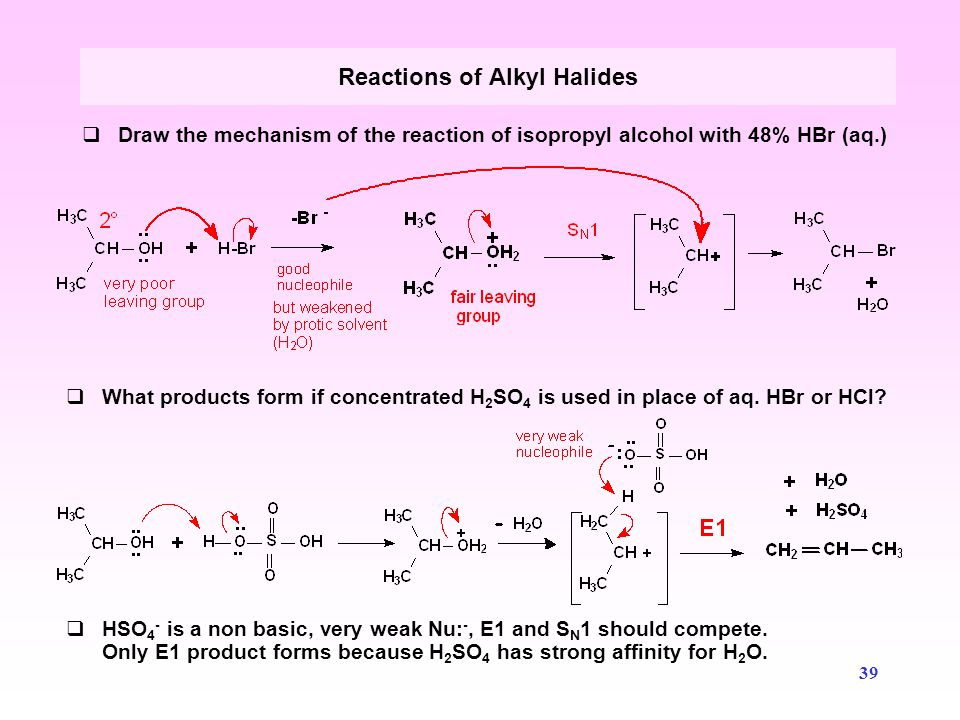 40  Predict the products and mechanism that occur with isopentyl chloride and KOH Reactions of Alkyl Halides  Predict the products and mechanism that occur with isopentyl chloride and KCN.