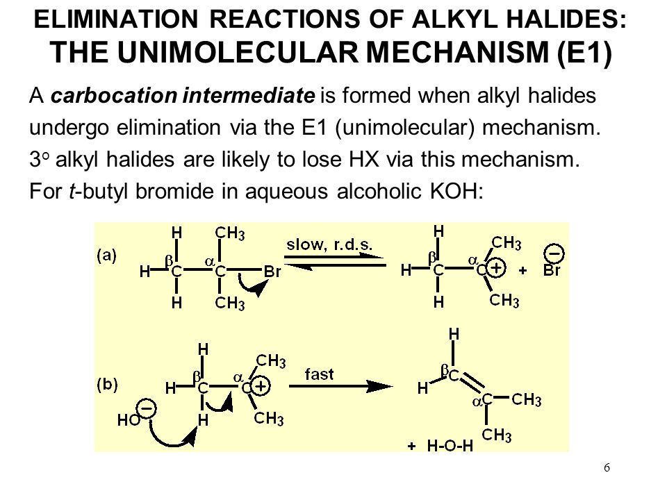 6 ELIMINATION REACTIONS OF ALKYL HALIDES: THE UNIMOLECULAR MECHANISM (E1) A carbocation intermediate is formed when alkyl halides undergo elimination via the E1 (unimolecular) mechanism.