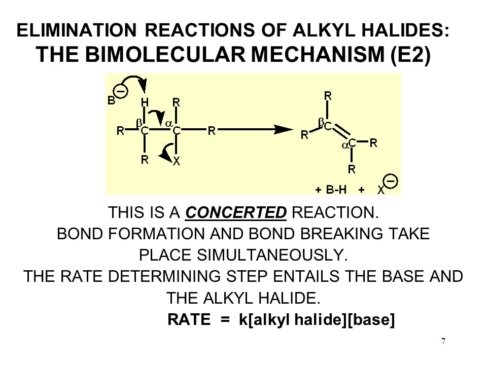 7 ELIMINATION REACTIONS OF ALKYL HALIDES: THE BIMOLECULAR MECHANISM (E2) THIS IS A CONCERTED REACTION.