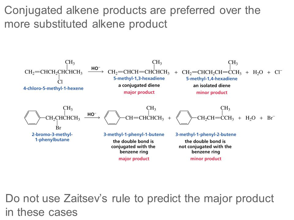 Conjugated alkene products are preferred over the more substituted alkene product Do not use Zaitsev's rule to predict the major product in these case