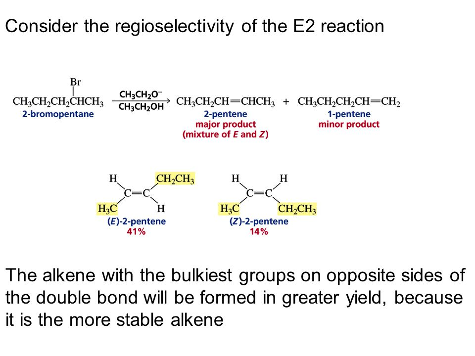 Consider the regioselectivity of the E2 reaction The alkene with the bulkiest groups on opposite sides of the double bond will be formed in greater yi