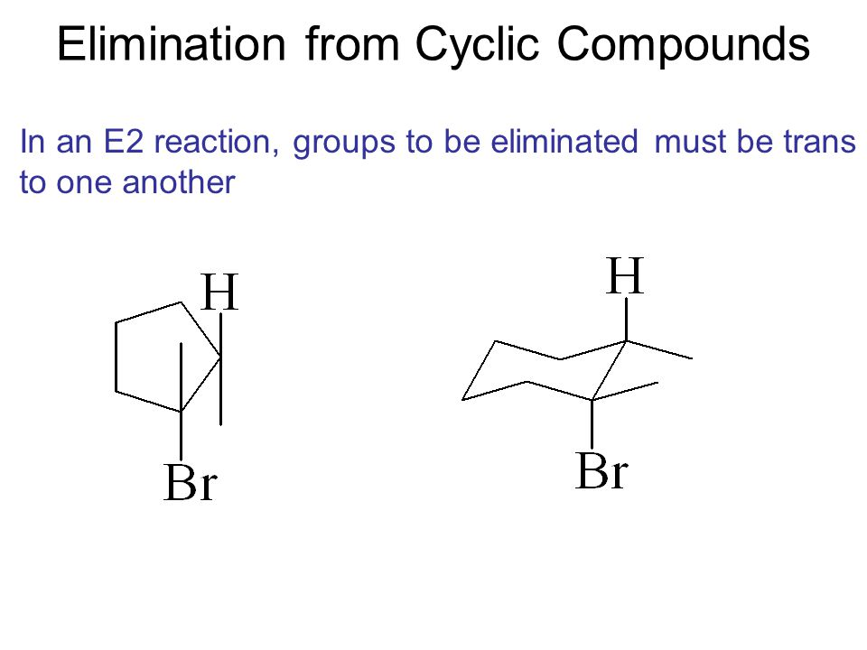 Elimination from Cyclic Compounds In an E2 reaction, groups to be eliminated must be trans to one another