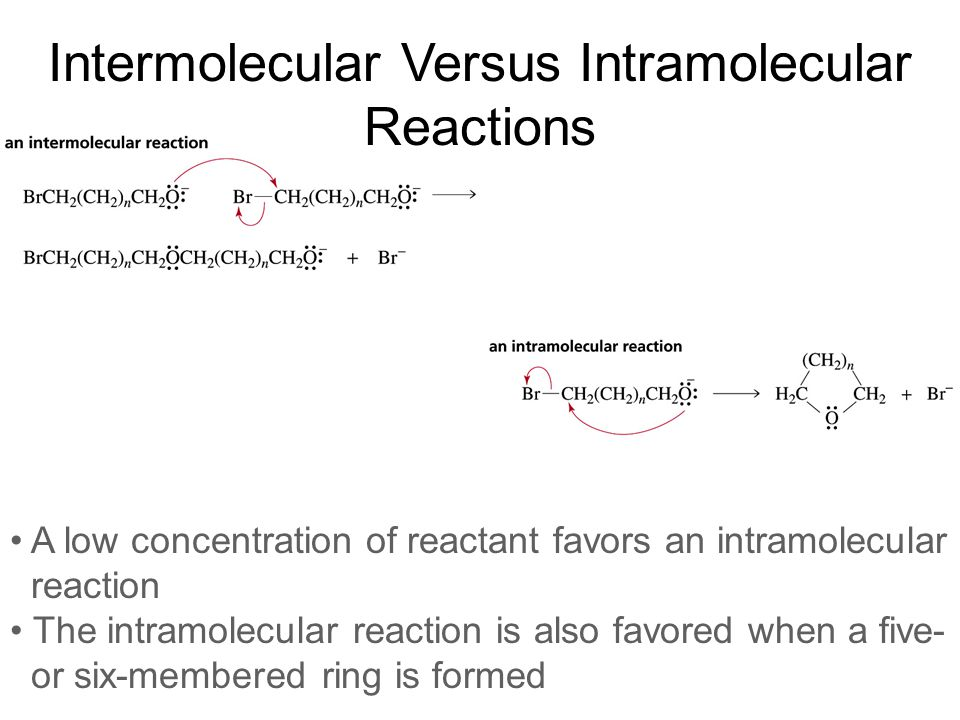 Intermolecular Versus Intramolecular Reactions A low concentration of reactant favors an intramolecular reaction The intramolecular reaction is also f