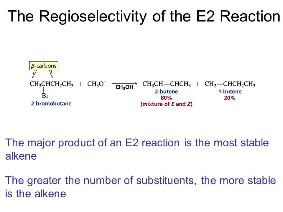 The Regioselectivity of the E2 Reaction The major product of an E2 reaction is the most stable alkene The greater the number of substituents, the more