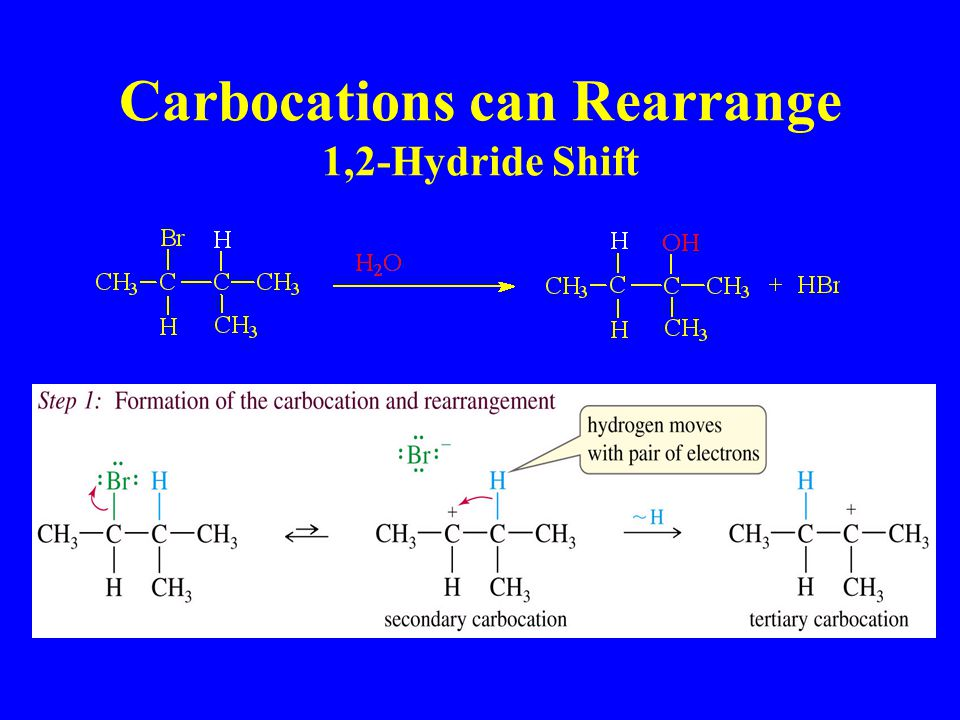 Carbocations can Rearrange 1,2-Hydride Shift