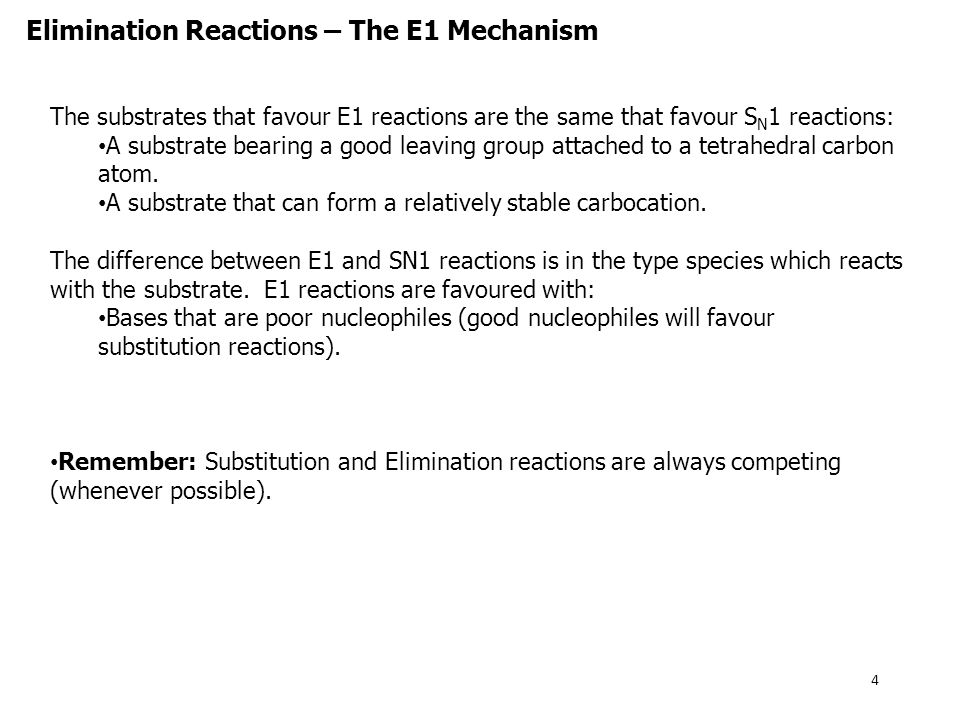 Why no substitution? Elimination Reactions – The E1 Mechanism 5 + + + + + +