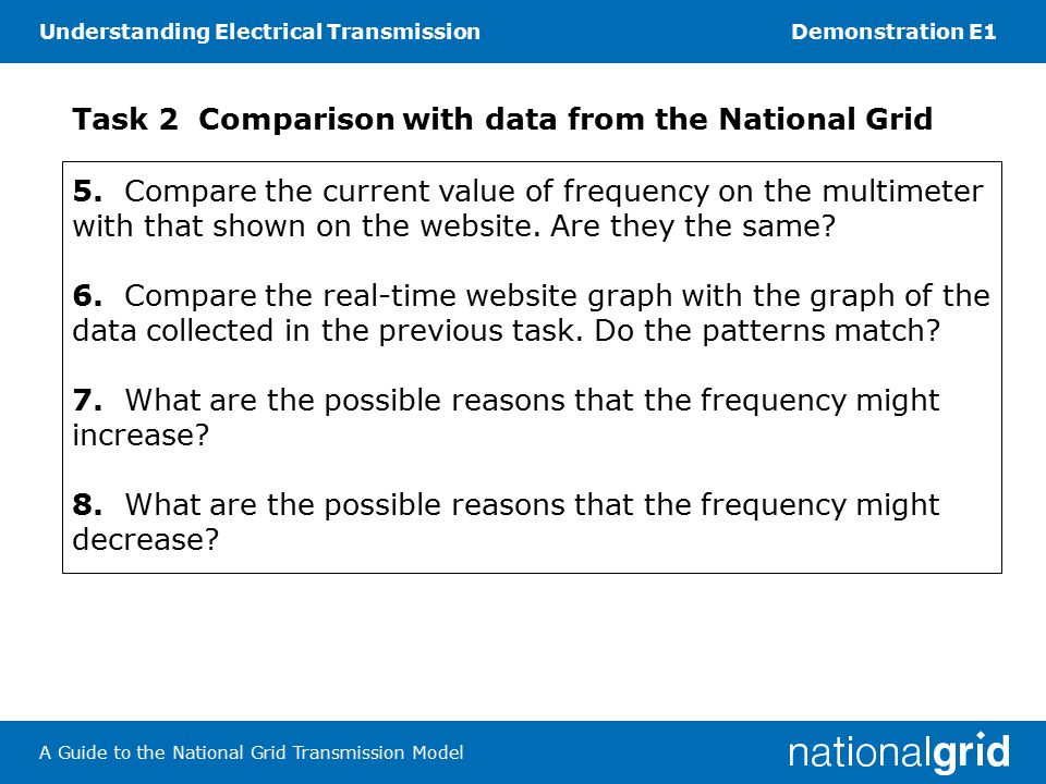 Understanding Electrical TransmissionDemonstration E1 A Guide to the National Grid Transmission Model Task 2 Comparison with data from the National Grid 5.