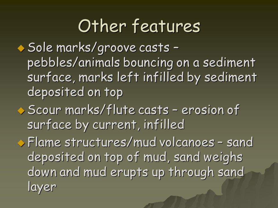 Other features  Sole marks/groove casts – pebbles/animals bouncing on a sediment surface, marks left infilled by sediment deposited on top  Scour ma
