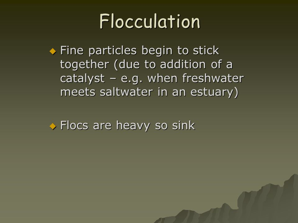 Flocculation  Fine particles begin to stick together (due to addition of a catalyst – e.g. when freshwater meets saltwater in an estuary)  Flocs are