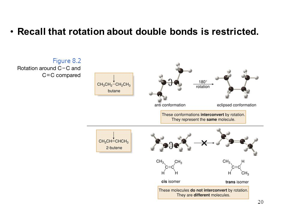 20 Recall that rotation about double bonds is restricted. Figure 8.2