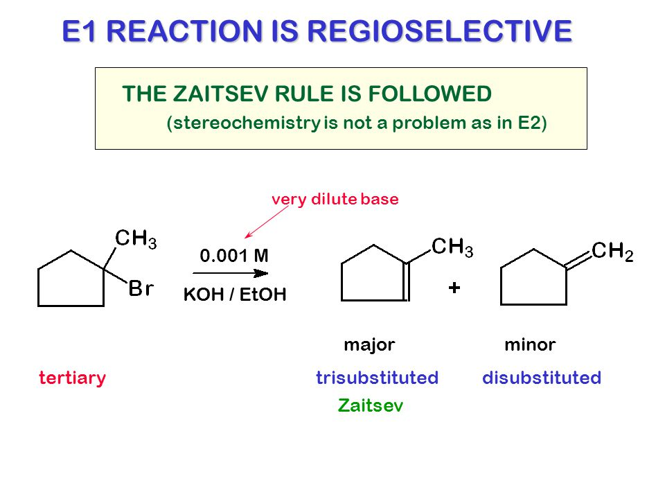 E1 REACTION IS REGIOSELECTIVE THE ZAITSEV RULE IS FOLLOWED majorminor 0.001 M KOH / EtOH tertiarytrisubstituted (stereochemistry is not a problem as i