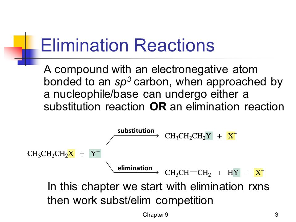 Chapter 93 Elimination Reactions In this chapter we start with elimination rxns then work subst/elim competition A compound with an electronegative atom bonded to an sp 3 carbon, when approached by a nucleophile/base can undergo either a substitution reaction OR an elimination reaction