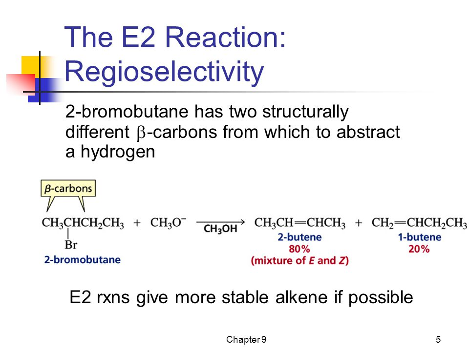 Chapter 95 The E2 Reaction: Regioselectivity 2-bromobutane has two structurally different  -carbons from which to abstract a hydrogen E2 rxns give more stable alkene if possible