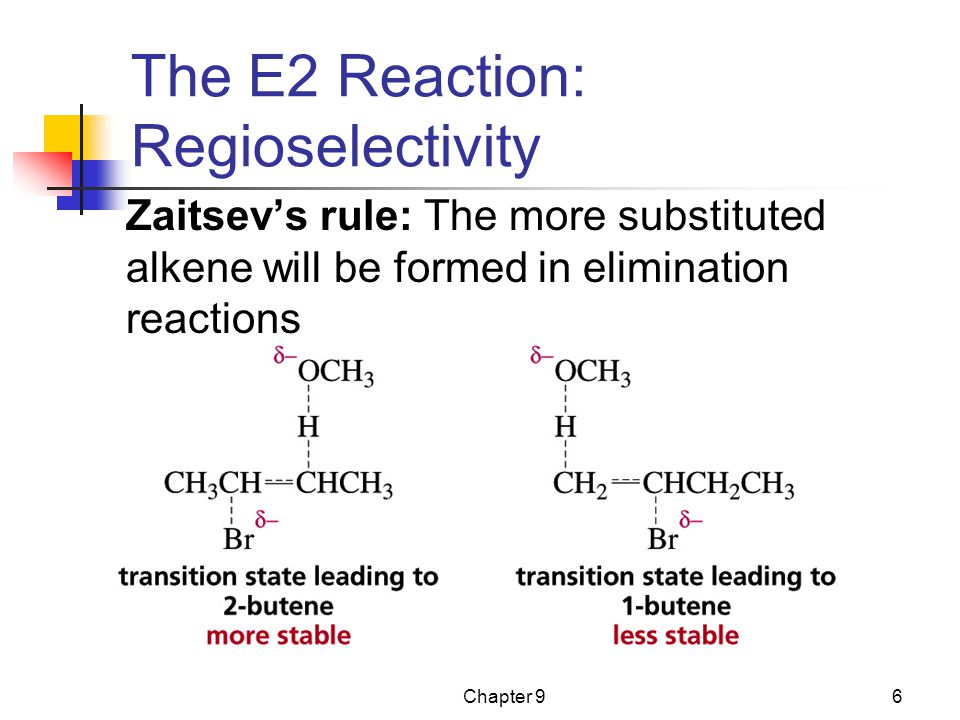 Chapter 96 The E2 Reaction: Regioselectivity Zaitsev's rule: The more substituted alkene will be formed in elimination reactions