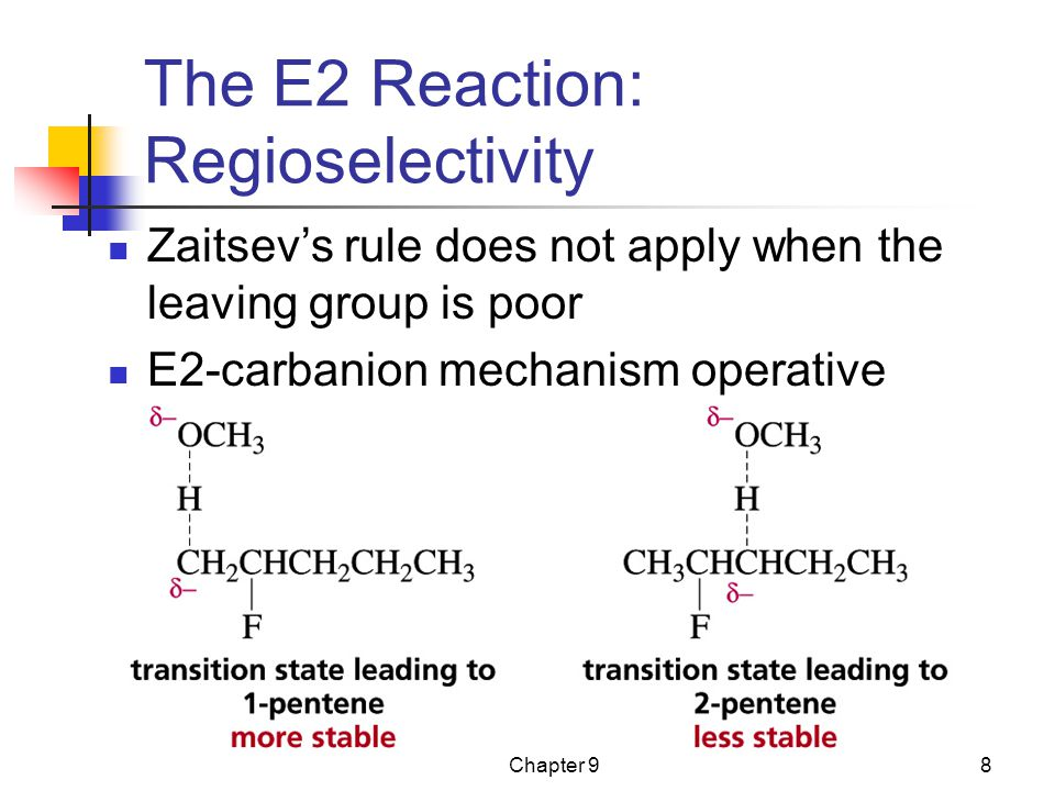 Chapter 98 The E2 Reaction: Regioselectivity Zaitsev's rule does not apply when the leaving group is poor E2-carbanion mechanism operative