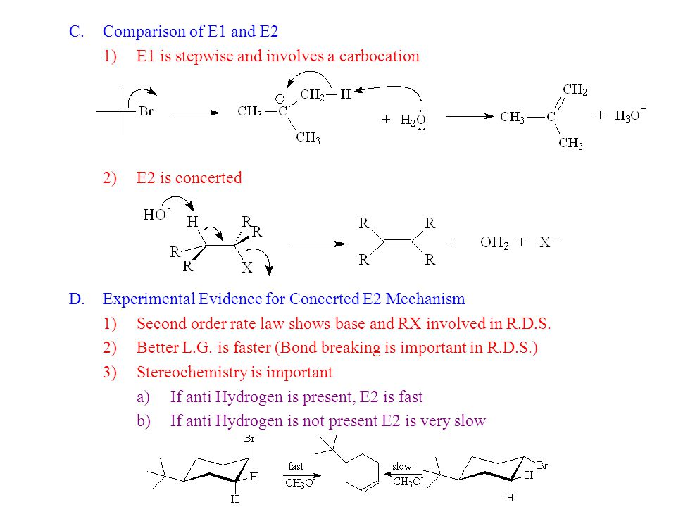 C.Comparison of E1 and E2 1)E1 is stepwise and involves a carbocation 2)E2 is concerted D.Experimental Evidence for Concerted E2 Mechanism 1)Second or