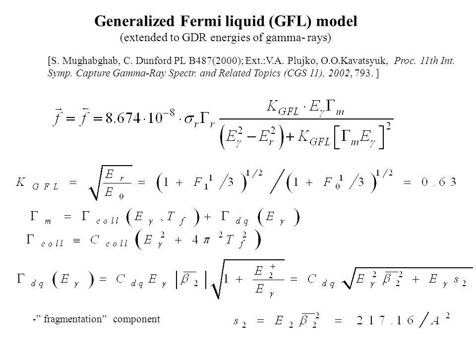- fragmentation component [S. Mughabghab, C. Dunford PL B487(2000); Ext.:V.A.
