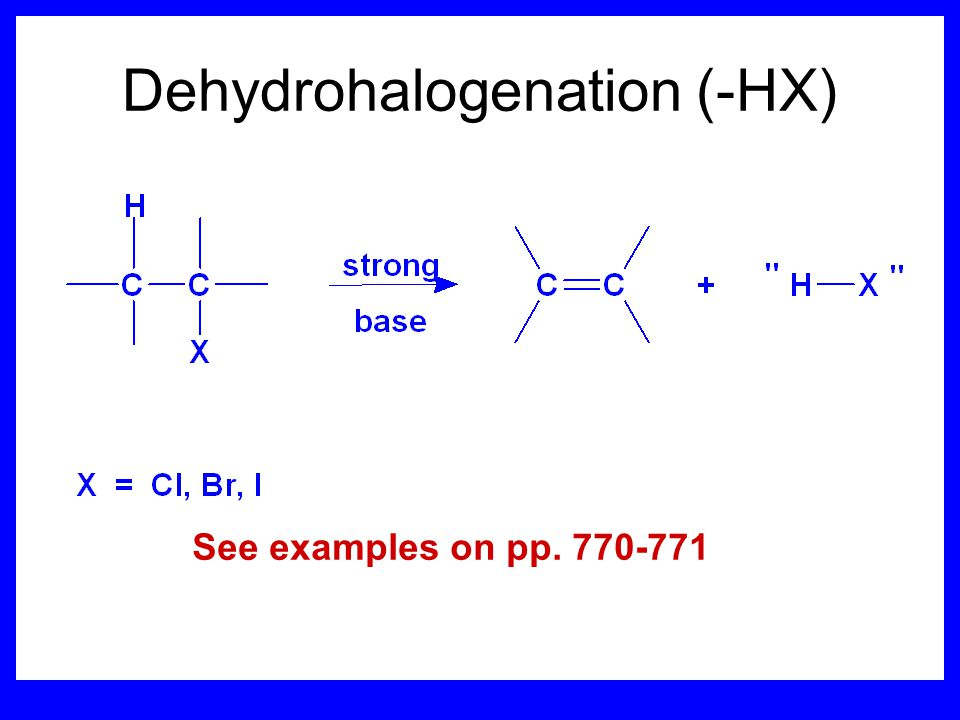 Stereochemistry of products The H and X must be anti with respect to each other in an E2 reaction.