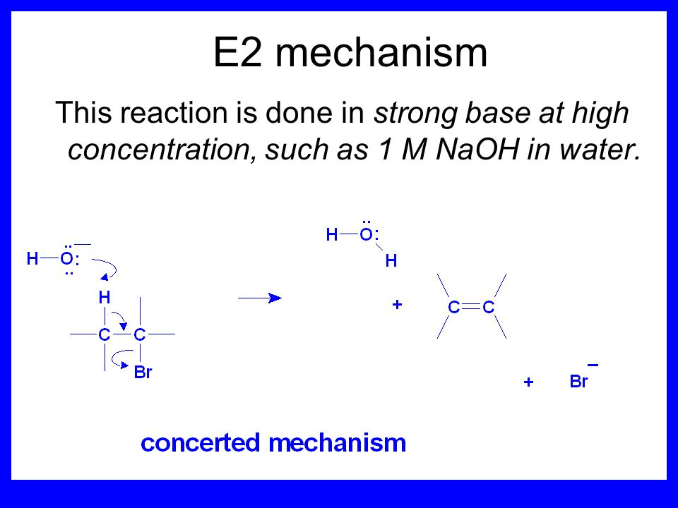 Sect 5.4: the E2 mechanism mechanism kinetics isotope effects stereochemistry of reactants orientation of elimination (Zaitsev's rule) stereochemistry