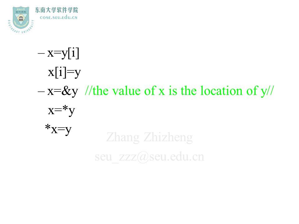 Zhang Zhizheng seu_zzz@seu.edu.cn –x=y[i] x[i]=y –x=&y //the value of x is the location of y// x=*y *x=y
