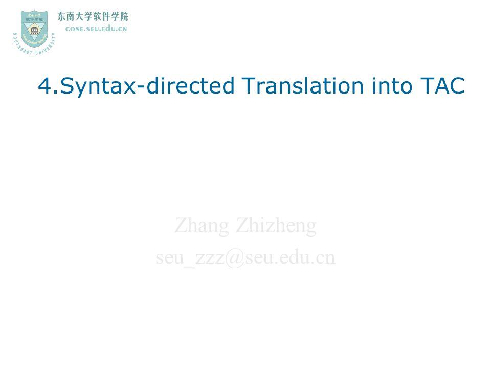 Zhang Zhizheng seu_zzz@seu.edu.cn 4.Syntax-directed Translation into TAC