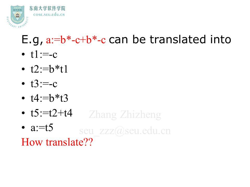 Zhang Zhizheng seu_zzz@seu.edu.cn E.g, a:=b*-c+b*-c can be translated into t1:=-c t2:=b*t1 t3:=-c t4:=b*t3 t5:=t2+t4 a:=t5 How translate??