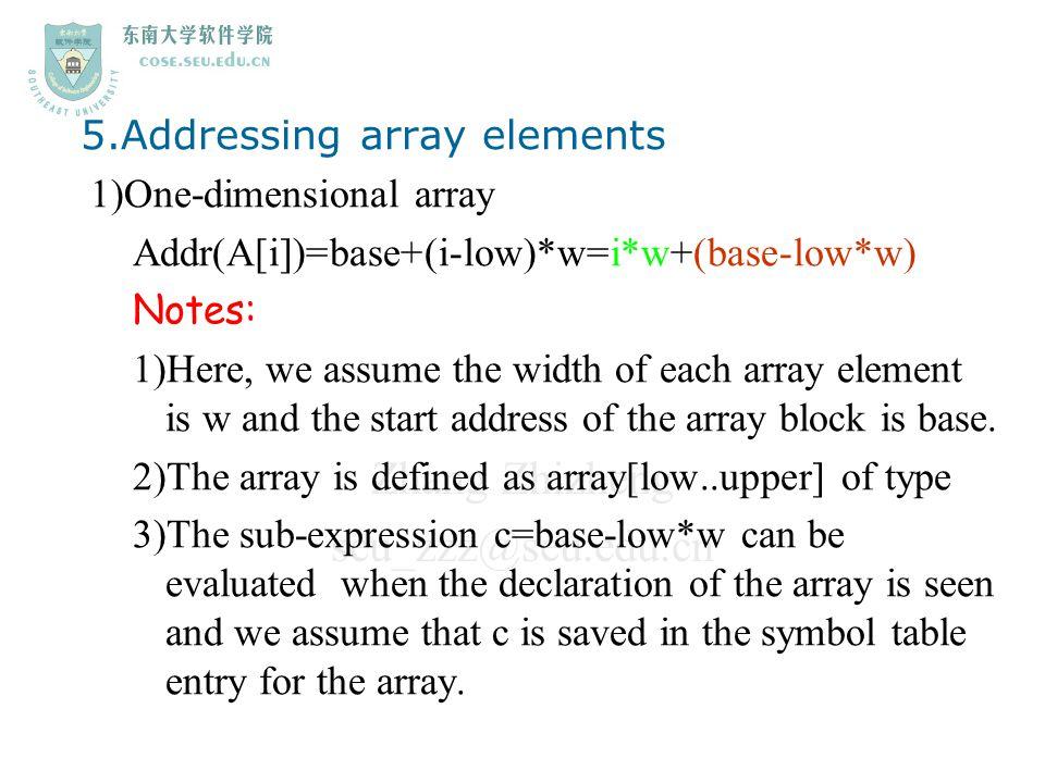 Zhang Zhizheng seu_zzz@seu.edu.cn 5.Addressing array elements 1)One-dimensional array Addr(A[i])=base+(i-low)*w=i*w+(base-low*w) Notes: 1)Here, we ass
