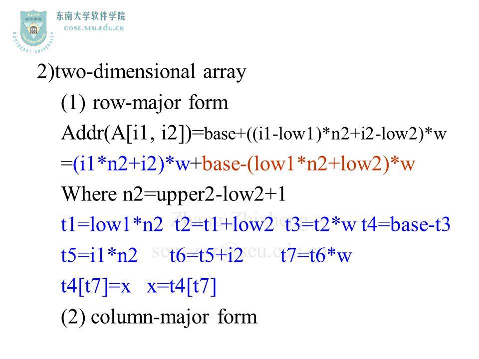 Zhang Zhizheng seu_zzz@seu.edu.cn 2)two-dimensional array (1)row-major form Addr(A[i1, i2])= base+((i1-low1)*n2+i2-low2)*w =(i1*n2+i2)*w+base-(low1*n2
