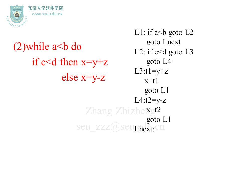 Zhang Zhizheng seu_zzz@seu.edu.cn (2)while a<b do if c<d then x=y+z else x=y-z L1: if a<b goto L2 goto Lnext L2: if c<d goto L3 goto L4 L3:t1=y+z x=t1