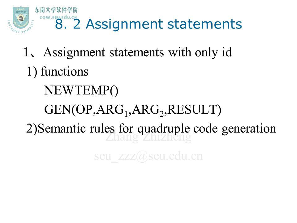 Zhang Zhizheng seu_zzz@seu.edu.cn 8. 2 Assignment statements 1 、 Assignment statements with only id 1) functions NEWTEMP() GEN(OP,ARG 1,ARG 2,RESULT)