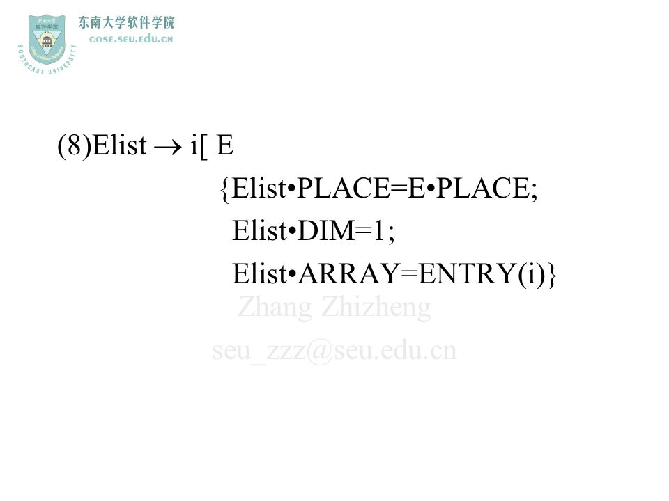 Zhang Zhizheng seu_zzz@seu.edu.cn (8)Elist  i[ E {ElistPLACE=EPLACE; ElistDIM=1; ElistARRAY=ENTRY(i)}