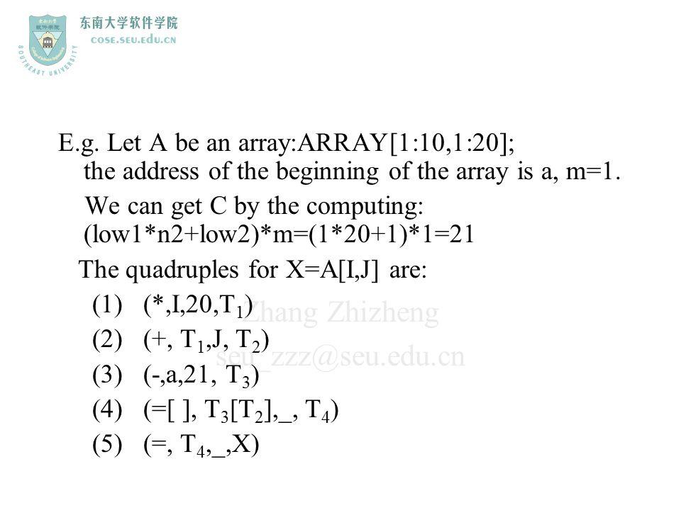 Zhang Zhizheng seu_zzz@seu.edu.cn E.g. Let A be an array:ARRAY[1:10,1:20]; the address of the beginning of the array is a, m=1. We can get C by the co