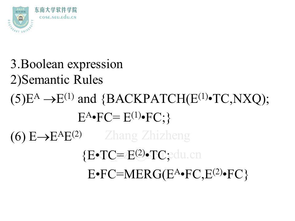 Zhang Zhizheng seu_zzz@seu.edu.cn 3.Boolean expression 2)Semantic Rules (5)E A  E (1) and {BACKPATCH(E (1)TC,NXQ); E A FC= E (1)FC;} (6) E  E A E (2
