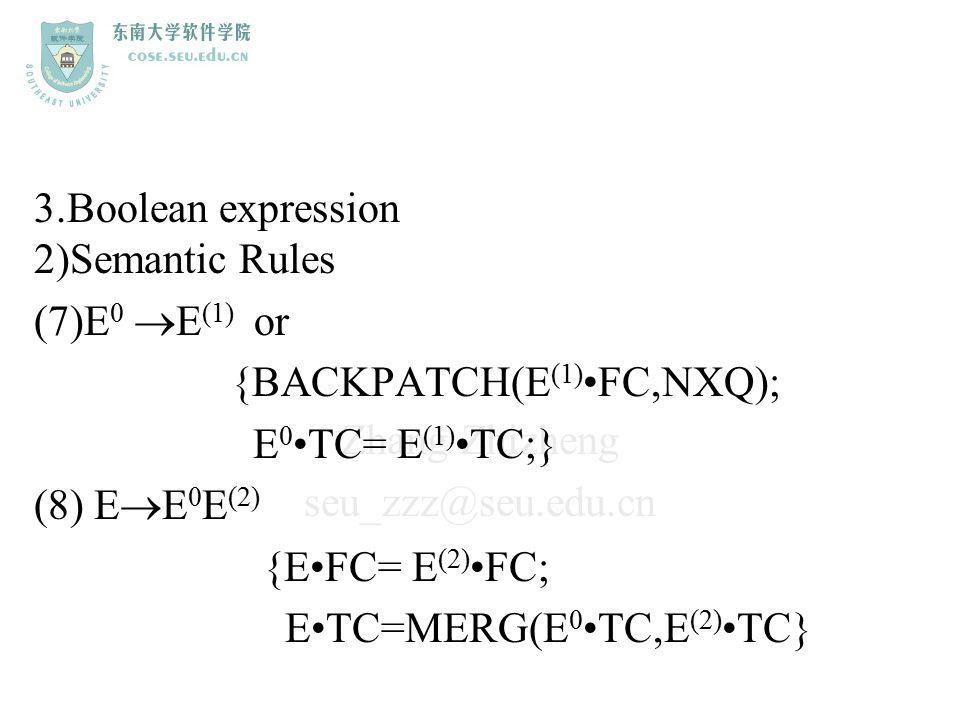 Zhang Zhizheng seu_zzz@seu.edu.cn 3.Boolean expression 2)Semantic Rules (7)E 0  E (1) or {BACKPATCH(E (1) FC,NXQ); E 0 TC= E (1) TC;} (8) E  E 0 E (