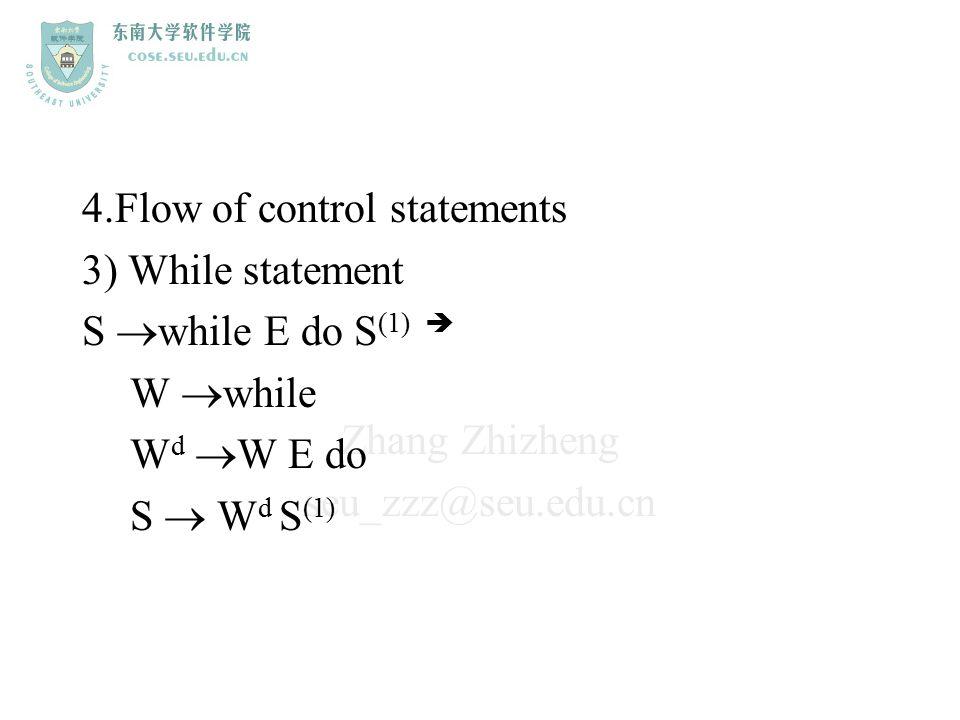 Zhang Zhizheng seu_zzz@seu.edu.cn 4.Flow of control statements 3) While statement S  while E do S (1)  W  while W d  W E do S  W d S (1)